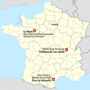 Islamophobic incidents - Two mosques and one Muslim-owned business were attacked in France in January 2015
