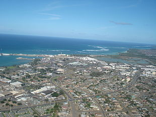 Aerial view of Kahului from the southwest