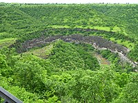 Horse shoe shaped Ajanta escarpment, viewed from Caves Viewpoint some 8 km away