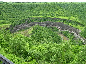 Ajanta Caves - Panoramic view of Ajanta Caves from the nearby hill