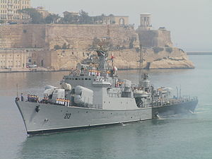 Armed Forces of the Libyan Arab Jamahiriya - Libyan frigate Al Ghardabia in Valletta, 2005.