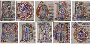 Psalter - Initials from the beginning of psalms in the St. Albans Psalter.