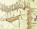 Albino de Canepa. The east of 1489 Portolan Chart. From the Black Sea at the top to the Red Sea at the bottom.D.jpg