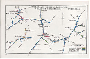 Worplesdon railway station - A 1912 Railway Clearing House map of lines around Worplesdon railway station