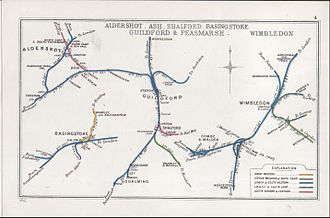 Worting Junction - A 1912 RCH Junction Diagram, on which Worting Junction is shown as Battledown Junction