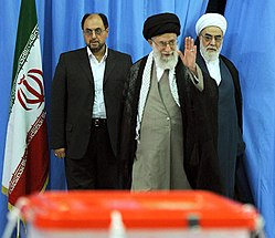Ali Khamenei before voting in the 2013 Presidential election.jpg