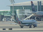Alitalia aircraft, Barcelona Airport, July 2014 (01).JPG