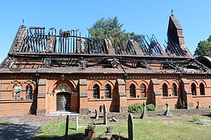 All Saints Church, Fleet - Fire damage in 2015