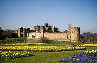 Alnwick Castle castle and stately home in Alnwick, Northumberland, England, UK; seat of the Duke of Northumberland