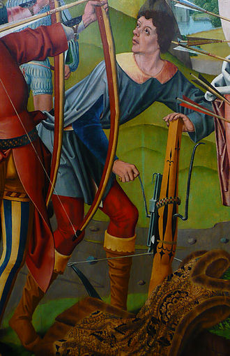 Crankshaft - German crossbowman cocking his weapon with a cranked rack-and-pinion device (ca. 1493)