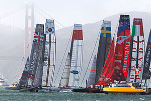 America's Cup World Series - AC45s rounding the first mark in San Francisco, 2012