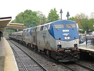 Empire Service - Image: Amtrak P32 704 pulls Train 235 into Poughkeepsie