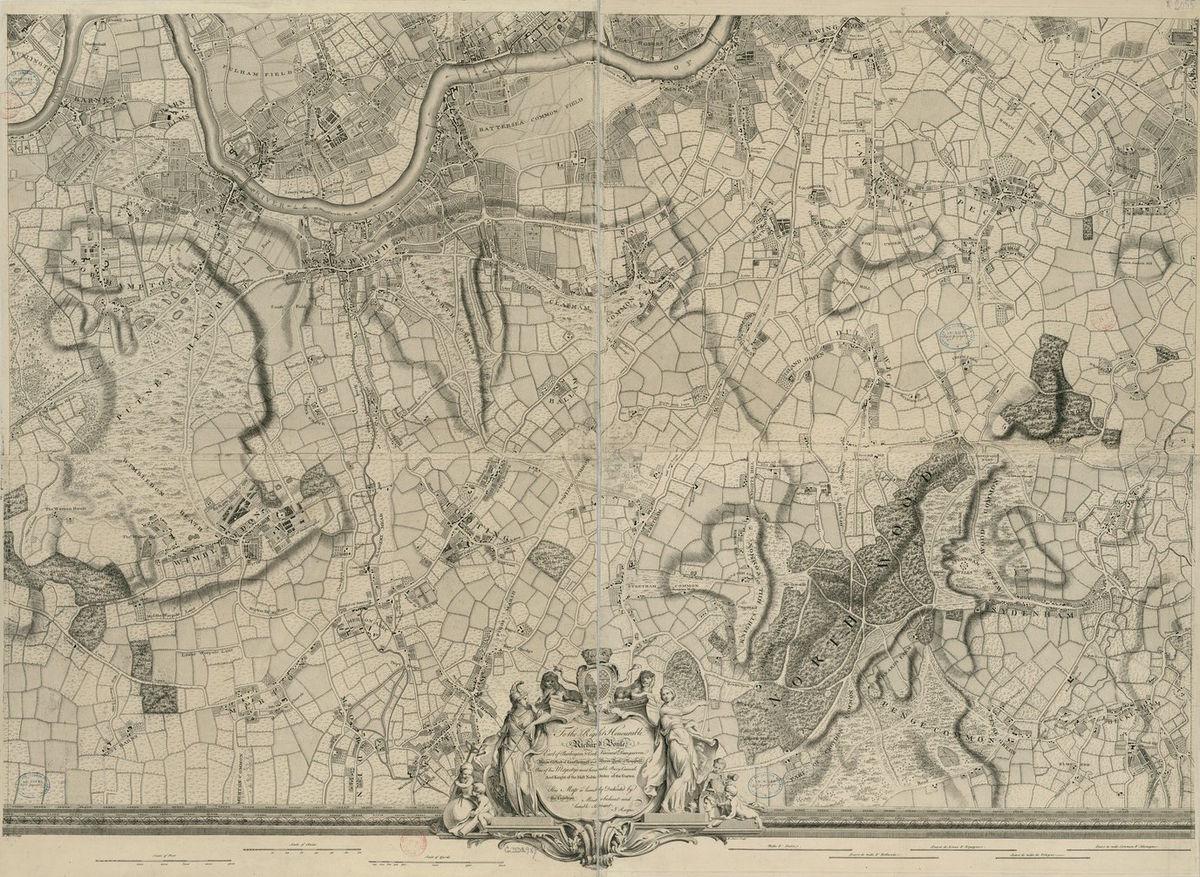 River Thames London Antique Old Map 1843 High Definition PDF Kensington Gardens