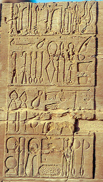 Ancient Egyptian medical instruments depicted in a Ptolemaic period inscription on the temple at Kom Ombo Ancient Egyptian medical instruments.jpg