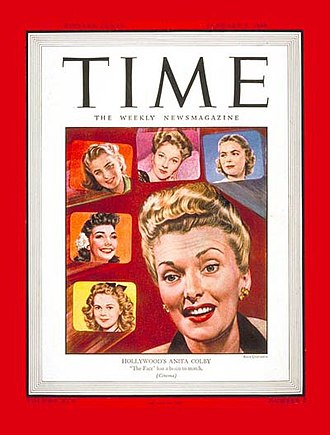 """Anita Colby - """"The Face"""" on the cover of Time (January 8, 1945), when she was feminine director of Selznick International Pictures"""