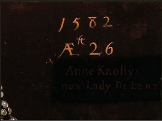 Robert Peake the Elder - Inscription on the portrait of Anne Knollys