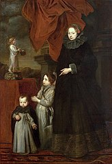 Portrait of Marquise Lomellini, with her children at prayer