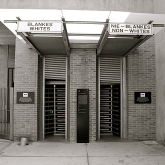 Apartheid Museum - The racially-segregated entrance to the museum