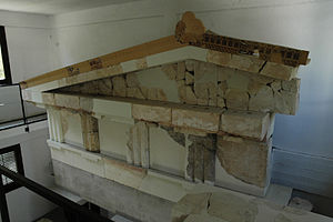 Temple of Aphaea - Reconstructed entablature and pediment of the Temple of Aphaia I in the on-site museum.