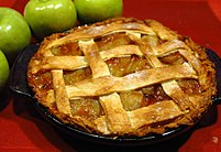 Apple pie with lattice upper crust