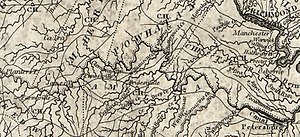 Upper Appomattox Canal Navigation System - Appomattox River Canal Navigation System 1814 Map cropped from a map of Eastern Virginia by Samuel Lewis.