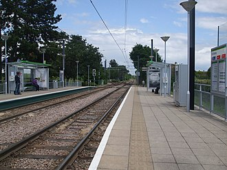 Arena tram stop (Croydon) - Looking north, with the junction visible ahead