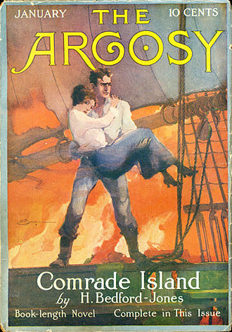 """H. Bedford-Jones - Bedford-Jones's """"Comrade Island"""" was the cover story in the January 1916 issue of The Argosy"""