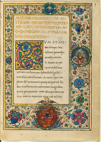 Letter of Aristeas - Latin translation, with a portrait of Ptolemy II on the right. Bavarian State Library, circa 1480.