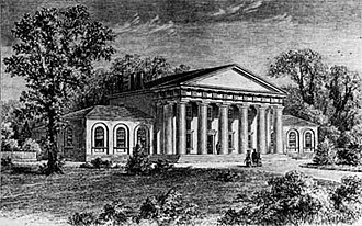 George Washington Parke Custis - Arlington House from a pre-1861 sketch, published in 1875