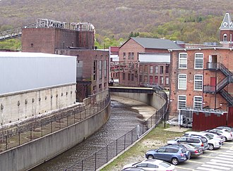 Massachusetts Museum of Contemporary Art - Buildings of the Arnold Print Works, now MASS MoCA, along a tributary of the Hoosic River (2012)