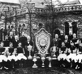 1896–97 in English football - The Aston Villa team of 1897 that won The Double.