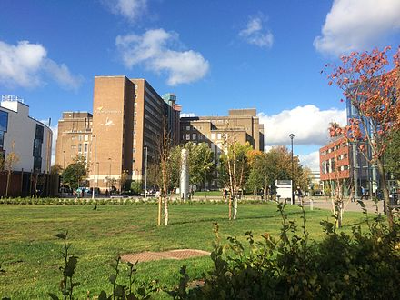 Aston University. Its campus is not in Aston but far south of Aston in Birmingham city centre. Aston uni campus1.jpg