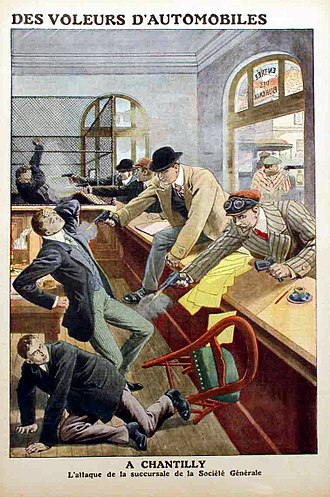 Bonnot Gang - The first robbery by Bonnot's Gang was at the money transfer of Société Générale Bank in Chantilly on December 21, 1911
