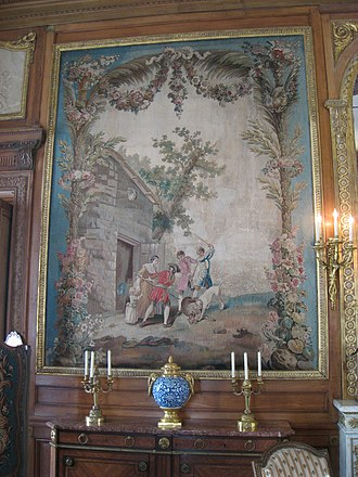 "La Fontaine's Fables - An Aubusson tapestry from the 18th century illustrating ""The Lion in Love"""