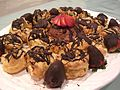 Aunt Linda's profiteroles and chocolate mousse, with chocolate-covered strawberries.jpg