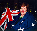 Australian paralympic shooter, Elizabeth Kosmala with the Australian flag (2).jpg