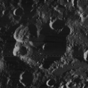 Avicenna (crater) - Oblique view from Lunar Orbiter 4