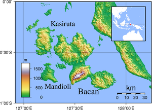 Bacan Islands - Image: Bacan Topography