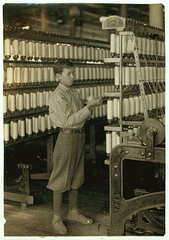 Adams, Massachusetts - Child labor at Berkshire Cotton Mills in Adams, 1916.  Photo by Lewis Hine.