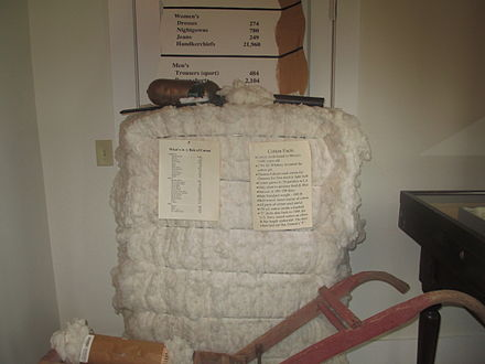 A bale of cotton on display at the Louisiana State Cotton Museum in Lake Providence in East Carroll Parish in northeastern Louisiana - Cotton