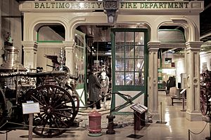 Engine House No. 8 (Baltimore, Maryland) - First floor cast-iron components of the original Engine House No. 8, as displayed at the Fire Museum of Maryland