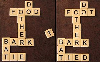 "Bananagrams - An arranged word grid with a newly-drawn tile, ""T"" (left). In order to fit the ""T"" in, the ""D"" at the end of ""F O O D"" can be moved to another position at which it spells a valid word, yet where ""T"" would not spell a word, so that ""T"" can take ""D""'s current position (right)."