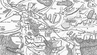 First Battle of Bar-sur-Aube - Colombey-les-Deux-Églises is off the right edge of this Napoleonic era map of Bar-sur-Aube (labeled Bar in center).