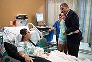 Barack Obama visiting victims of 2012 Aurora shooting