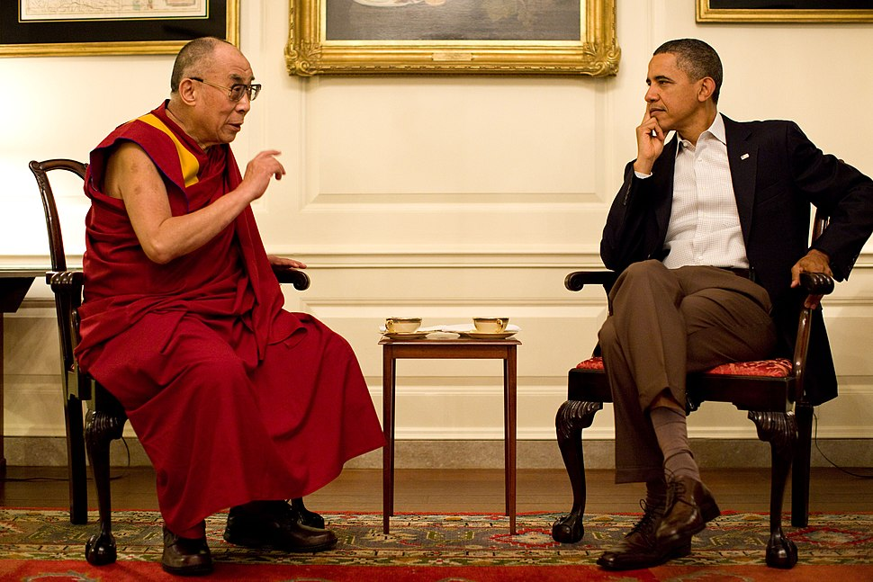 Barack Obama with the 14th Dalai Lama in the Map Room 2011