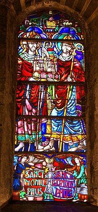 Basiliek van Onze-Lieve-Vrouw-Tenhemelopneming (Maastricht) 20080913 stained glass Monulphus Gondulphus.jpg