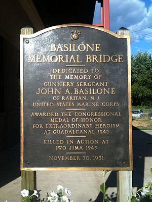 John Basilone - Dedication sign for the Basilone Memorial Bridge
