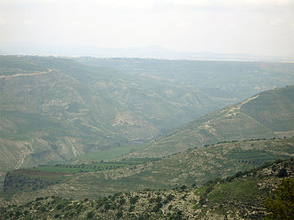 Battle of Yarmouk - Across the ravines lies the battlefield of Yarmouk, this picture taken about 8 miles away, from Jordan.