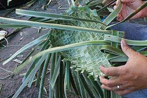 Bayong - The weaving process in making bayong