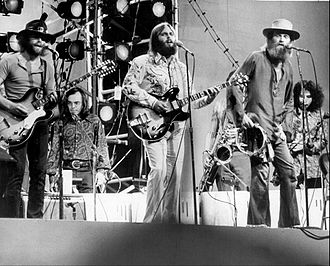 Mike Love - Love (front-right) performing with the Beach Boys in 1971